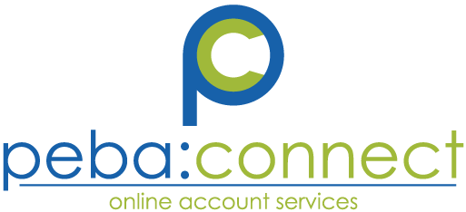 peba:connect logo with the text 'online account services' below the blue and green letter P graphic